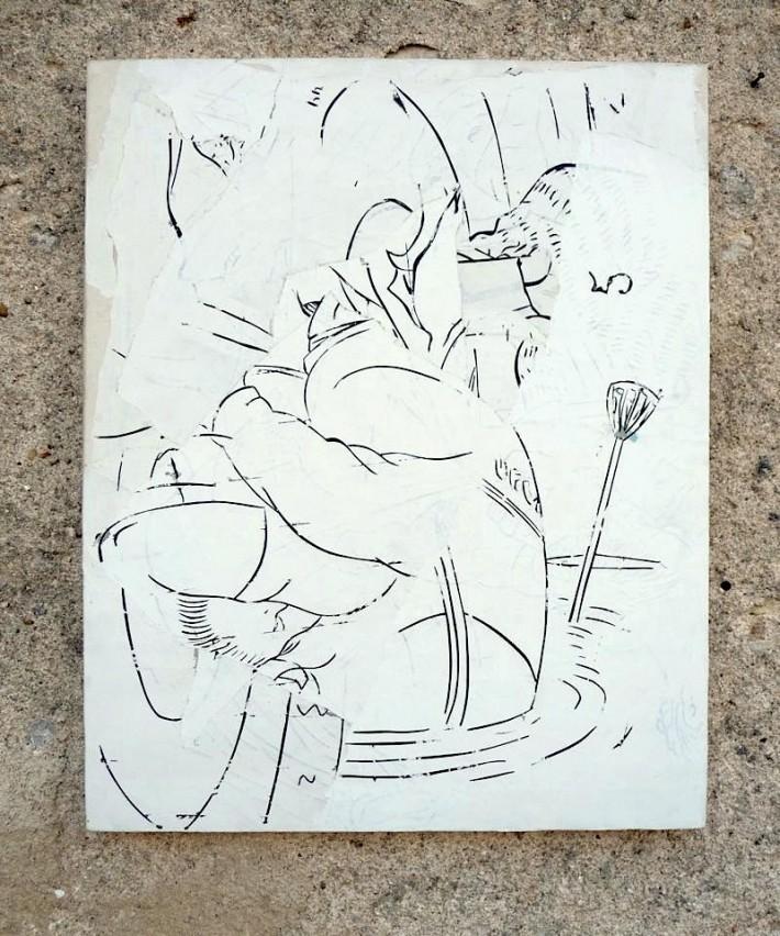 Boat 2009, gesso & acrylique s/toile, 81 x 57 cm.