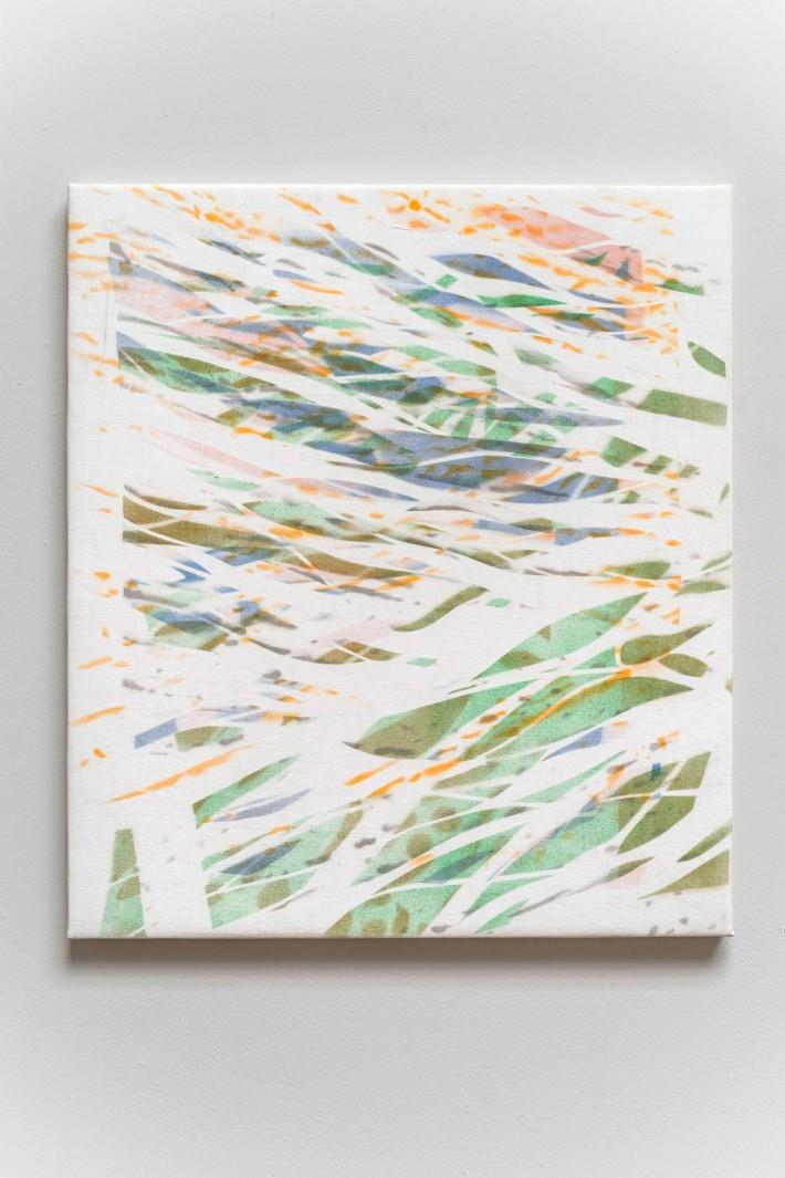 Ruisseau 5, 2016,  émail sur coton,  83 x 73 cm.