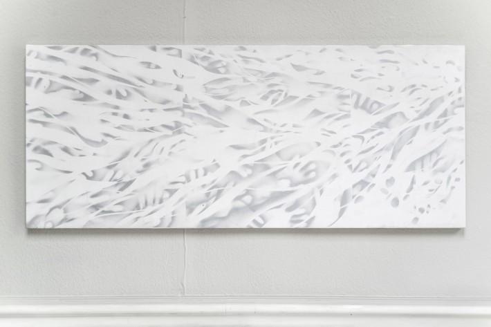 Ruisseau 8 2016,  émail sur toile, 75 x 183 cm.