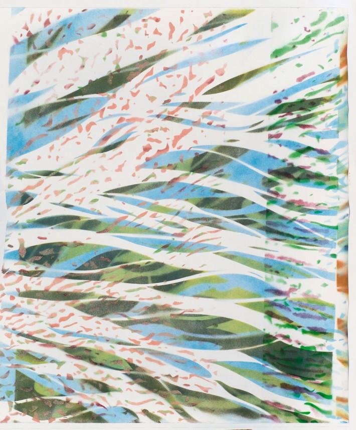 Stream 1 r, 2016, spray paint on paper, 78 x 68 cm
