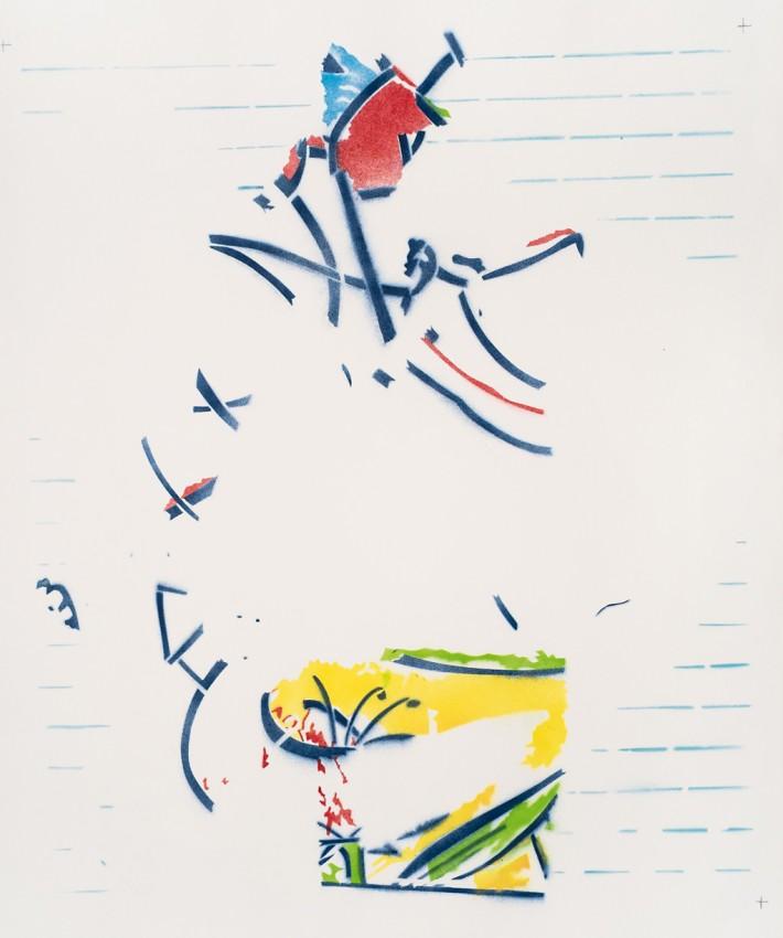 Pinocchio 2016, email s/papier, 100 x 70 cm