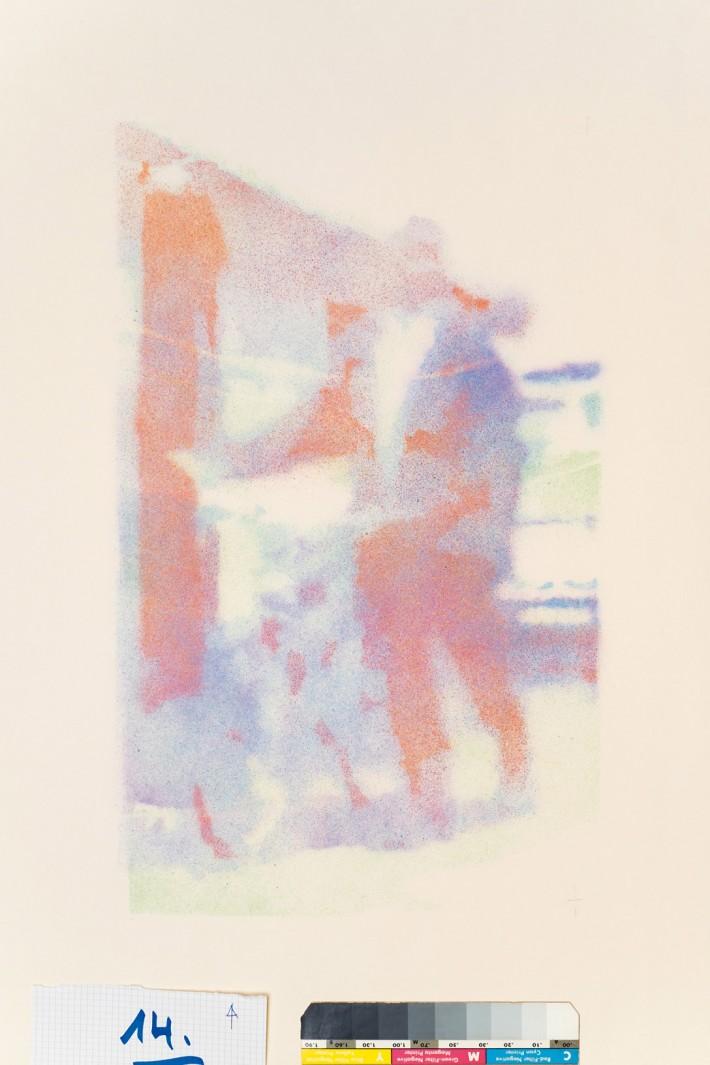 Homme au Vélo 1, 2016, email s/papier, 50 x 30 cm