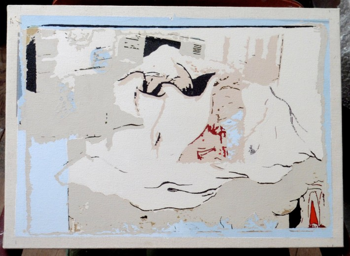 Still life, 2017, Acrylic and ink on canvas, 35 x 61 cm.