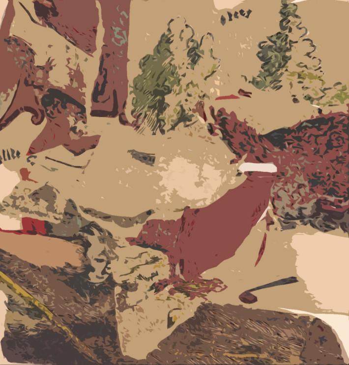 Paysage 2017, media mixte sur coton,  96 x 88 cm.