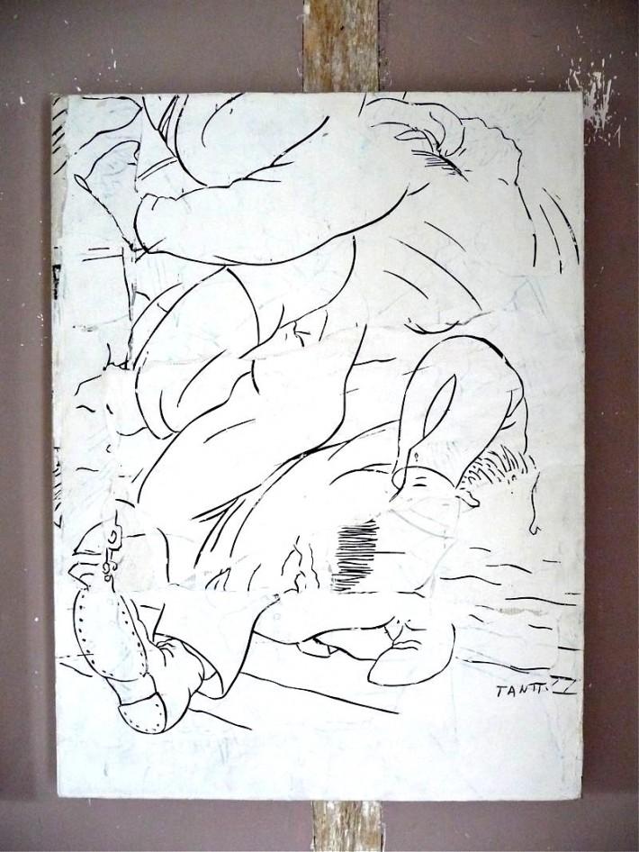 Boot 2009, gesso & acrylique s/toile, 81 x 57 cm.