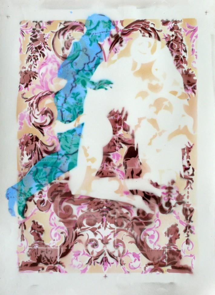 Zephyr & Jacinthe 3 2014, acrylique s/papier, 78 x 56 cm.