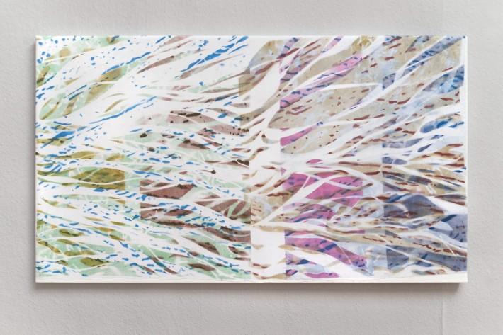 Ruisseau 7 2016, émail sur coton, 77 x 136 cm.