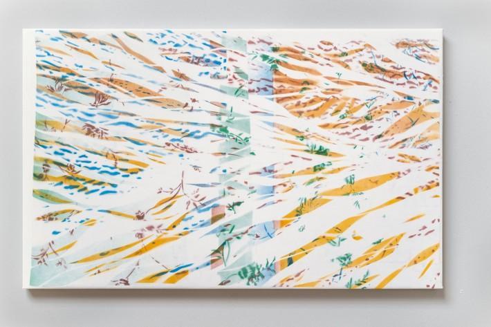 Ruisseau 3 2016, émail sur coton, 78 x 127 cm.