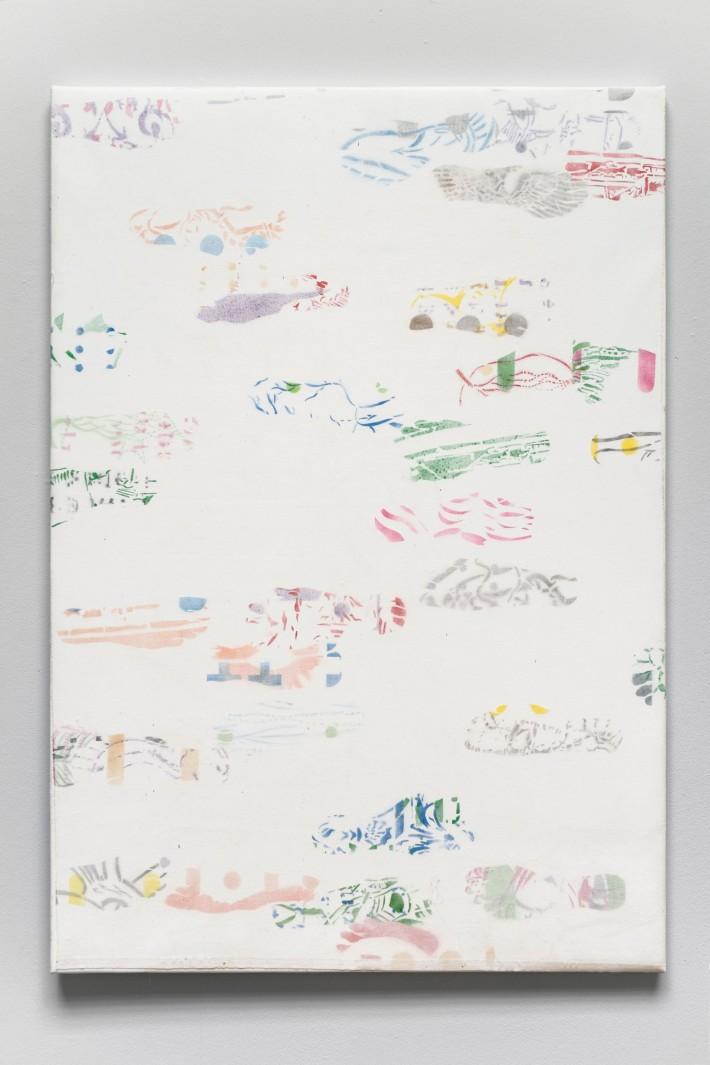 Piétons 3 2016, émail sur coton marouflé sur toile, 141 x 98 cm.