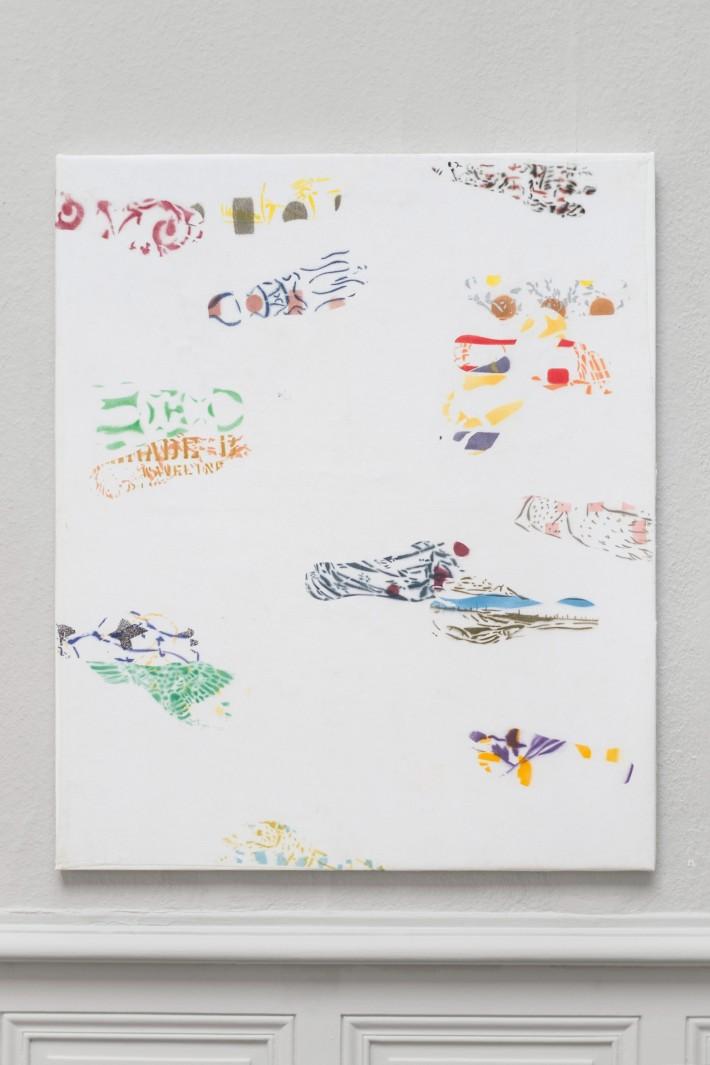Piétons 2 2016, émail sur coton marouflé sur toile, 108 x 90 cm.