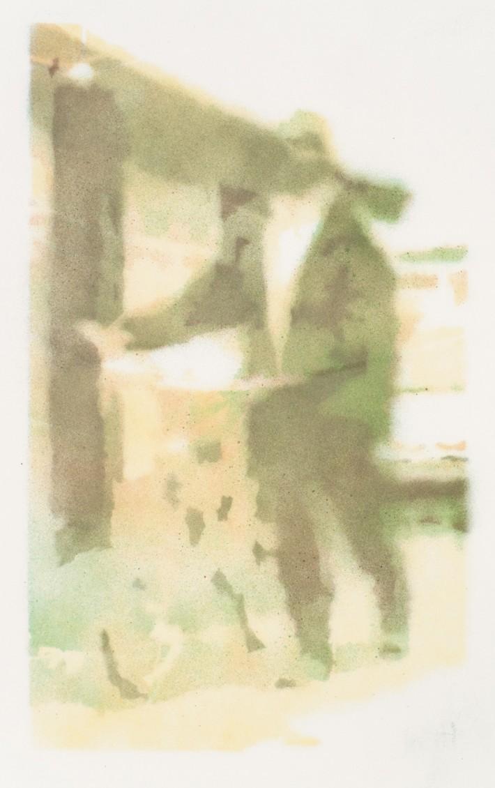 Homme au vélo 2, 2016, email/papier 50 x 30 cm