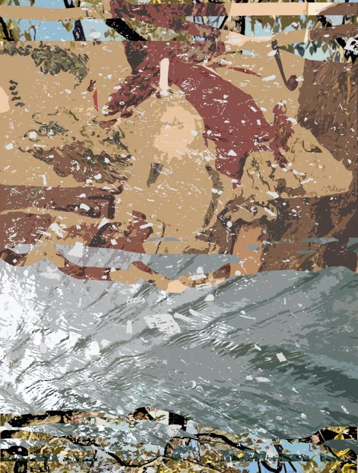 Ruisseau 1 2017, peinture acrylique et encre sur toile, 165 x 120 cm.
