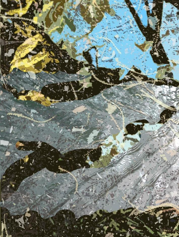 Ruisseau 2, 2017, peinture acrylique et encre sur coton, 165 x 120 cm.