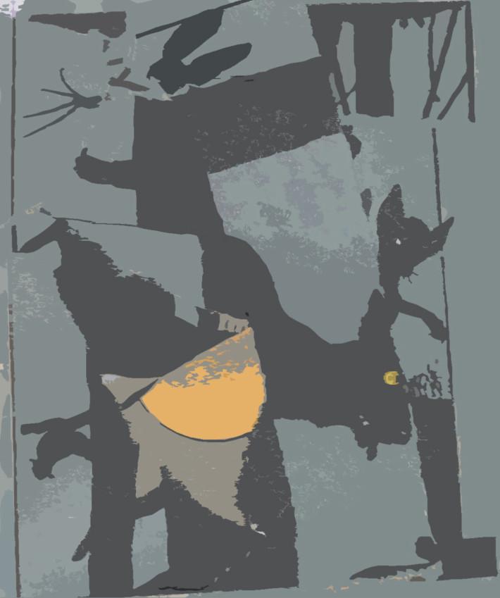 Deuxième Nuit, 2017, acrylique sur coton, 65 x 54 cm.