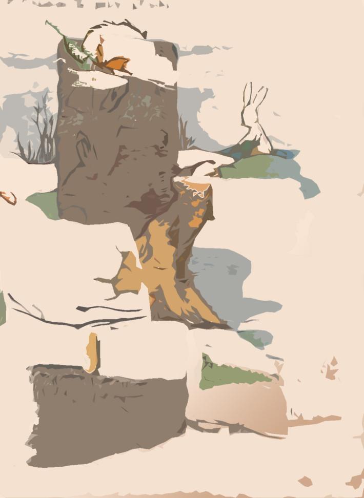 La Souche, 2017, media mixte sur toile, 98 x 64 cm