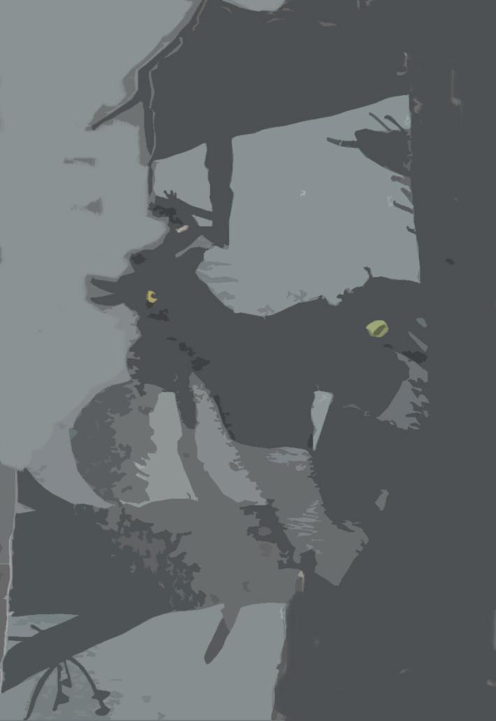 La Nuit, 2017, media mixte sur coton, 56 x 34 cm.